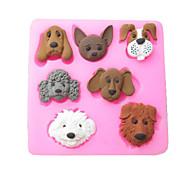 Seven Carton Dogs Baking Fondant Cake Choclate Candy Mold,L7.2cm*W7.1cm*H1cm