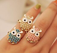 European Adjustable Lovely Owl  Alloy Rings(Pink,Blue,Beige)