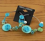 Fashion Hand Kniting Hoop Earrings Random Color