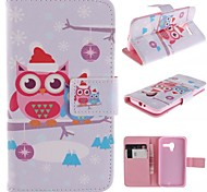 Cute Cartoon Owls Pattern PU Leather Full Body Case with Stand and Card Slot for Motorola Moto X