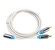CYK 1M 3.28FT RCA Female to 2RCA Male Audio Video Cable Free Shipping - White