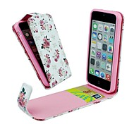 Flip-Open Rose Flower Pattern PU Leather Full Body Cover with Card Slot Case for iPhone 5C