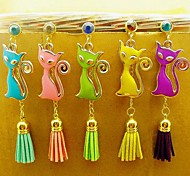 Lovely Cat Tassel 3.5mm Anti-dust Plug for iPhone 6 and Others(Random Colors)