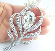 aleación de moda de diamantes de imitación de cristal en tono plateado pluma de pavo real de las mujeres broche nupcial