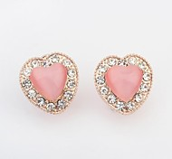 Women's Romantic Opal Beaded Rhinestone Pave Heart Shape Stud Earrings
