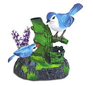 Voice-Control Singing Mother and Child Magpies with Pen Holder Tree Branch Toys(Blue)