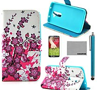 COCO FUN® Pink Floral Flower Pattern PU Leather Full Body Case with Screen Protector, Stylus and Stand for LG G2