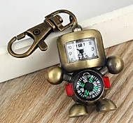 Unisex Robot-Shaped Round Dial With Compass Alloy Keychain Watch Green Patina (1Pc)