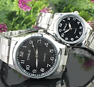Men's Women's Couple's Dress Watch Quartz Alloy Band Silver