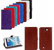 Для Samsung Galaxy Note Бумажник для карт / со стендом / Флип Кейс для Чехол Кейс для Один цвет Искусственная кожа Samsung Note 2