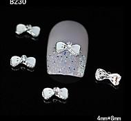 10pcs White 3D Bowtie Alloy Rhinestone Nail Tips DIY Nail Art Decoration