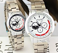 Couple's Round Dial Alloy Band Fashion Quartz Watch (Assorted Colors)