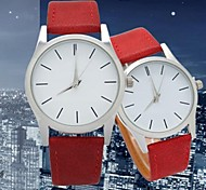 Couple's Circular Dial Leather Belt Quartz Fashion Watch(Assorted Colors)