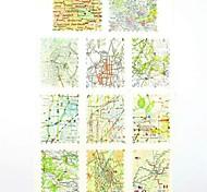 Adesivi stampa di trasferimento dell'acqua chiodo decalcomanie 1x11pcs mappa per decorazioni di arte del chiodo del chiodo (25 * 16 * 0,1 centimetri)