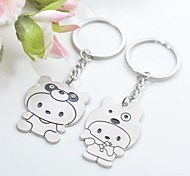 Personalized Engraving Cartoon Kids Metal Couple Keychain