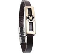estilo punk pulseira de couro liga transversal oca (1 pc)