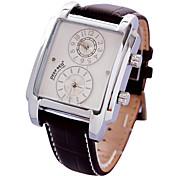 dupla retângulo tempo dos homens discar pu banda quartzo relógio de pulso analógico (cores sortidas)