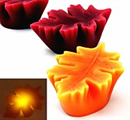 Autumn Leaf Flame Twinkle LED Paraffin Art Candle for Holiday Decoration - (CR2032 x 1)