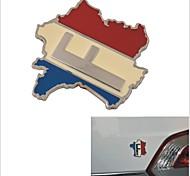 elegante de aluminio de aleación de decoración del coche pegatina - Mapa de patrón francés