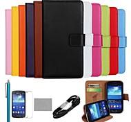 coco Fun® ultra slim einfarbig Tasche aus echtem Leder mit Film, Kabel und Stylus für Samsung Galaxy Ace 3 s7272 s7275