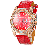 Women's Diamante Gold Case Red Leather Band Quartz Fashion Watch