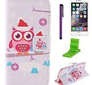 navidad día y el patrón de tapa de Navidad búho caja de cuero de la PU con el protector de pantalla y aguja para el iphone 6
