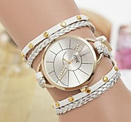 Women's Round Case Weaving Leather Band Bracelet Watch(Assorted Colors)