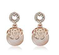Fashion Opal Hollow-out Roses  Earring