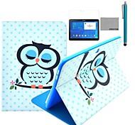 coco Fun® Schlafeulenmuster PU-Leder Flip-Standplatzfall mit Film und Stylus für Samsung Galaxy Tab 10.1 4 T530