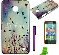 Be Free Pattern PC Hard Case with Screen Protector,Stylus and Stand for Nokia Lumia 630/635