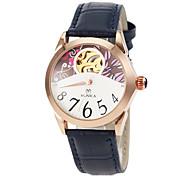 Frauen automatische Selbstwind hohle Blume Wahlgoldgehäuse Lederarmband Armbanduhr (farbig sortiert)