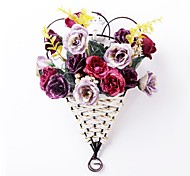 """13.7""""H European Style Multicolor Roses in Basket Hanging on The Wall(Assorted Colors)"""