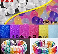 Approx 100PCS UV Color Changing 6x8MM Pony Beads For Rainbow Loom Rubber Bands Bracelet DIY Accessories(Assorted Color)