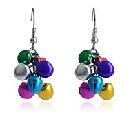 Lureme Fashion Baking Varnish Christmas Multicolour  Small Bell Alloy Drop Earrings