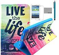 """coco fun® modello di vita l'amore pu cuoio di vibrazione caso del basamento con la pellicola e lo stilo per Samsung Galaxy Tab 7 """"3 P3200 T210"""