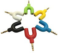 3.5mm Stereo Audio Y Splitter 2 Female to 1 Dual Male Cable Adapter for Earphone(Assorted Color)