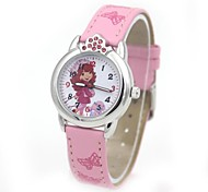 Children's Fashion Crystal Crown Case PU Band Quartz Wrist Watch