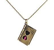 Fahion Chain Retro Antique Bronze Hourglass Book Pendant Necklace