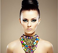 Women's Fashion Multicolor Resin Chunky Bib Necklace