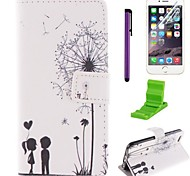 The Love Dandelion Pattern PU Leather Case with Screen Protector and Stylus for iPhone 6/6S