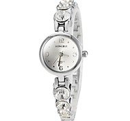 Women's Round Diamante Dial Alloy Band Quartz Wrist Watch(Assorted Colors)