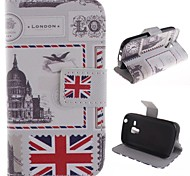 For Samsung Galaxy Case Wallet / Card Holder / with Stand / Flip / Pattern Case Full Body Case Flag PU Leather Samsung Trend Duos