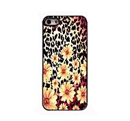 Leopard Print and Flower Design Aluminium Hard Case for iPhone 4/4S