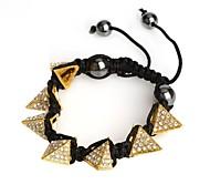 Fashion Golden Pyramid Rhinestone Metal Shamballa Bracelet