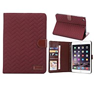 Grid Cloth  PU Leather Case with Card Holder Stand Cover for Apple iPad mini 3/2 Assorted Colors)