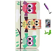 Three Cute Owls Wallet PU Leather Case Cover with Stand and Card Slot for iPhone 6