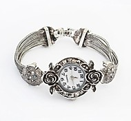 Women's Round Alloy Band Rose Bracelet Watch