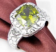 Newest Antique Peridot Red Quartz Gemstone Silver Ring 1PC