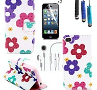 Sunflower Pattern PU Leather Cover with Card Slot with Touch Pen and Protective Film 2 Pcs and Headset for iPhone 4/4s