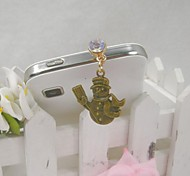 Fashion Delicate Snowman Shape Alloy Diamante Anti-dust Plug for Universal Mobile Phone